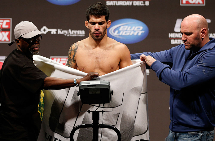 SEATTLE, WA - DECEMBER 07:  Raphael Assuncao weighs in during the official UFC on FOX weigh in on December 7, 2012 at Key Arena in Seattle, Washington.  (Photo by Josh Hedges/Zuffa LLC/Zuffa LLC via Getty Images)