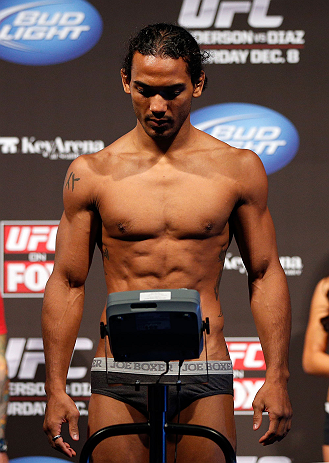 SEATTLE, WA - DECEMBER 07:  Benson Henderson weighs in during the official UFC on FOX weigh in on December 7, 2012 at Key Arena in Seattle, Washington.  (Photo by Josh Hedges/Zuffa LLC/Zuffa LLC via Getty Images)