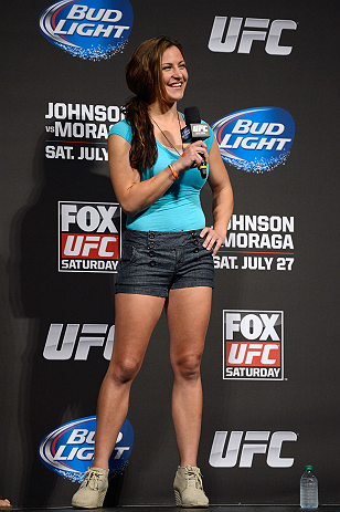 SEATTLE, WA - JULY 26:  UFC women's bantamweight Miesha Tate interacts with fans during a Q&A session before the official UFC on FOX weigh-in at Key Arena on July 26, 2013 in Seattle, Washington.  (Photo by Jeff Bottari/Zuffa LLC/Zuffa LLC via Getty Images)
