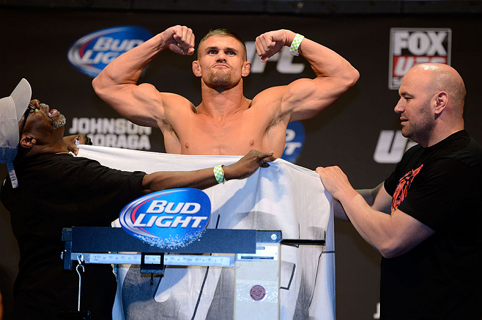 SEATTLE, WA - JULY 26:  Daron Cruickshank weighs in during the official UFC on FOX weigh-in at Key Arena on July 26, 2013 in Seattle, Washington.  (Photo by Jeff Bottari/Zuffa LLC/Zuffa LLC via Getty Images)