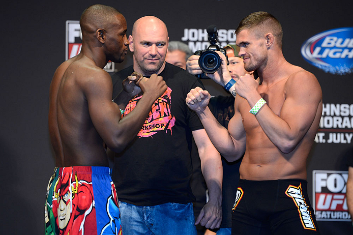 SEATTLE, WA - JULY 26:  Opponents Yves Edwards (L) and Daron Cruickshank face off during the official UFC on FOX weigh-in at Key Arena on July 26, 2013 in Seattle, Washington.  (Photo by Jeff Bottari/Zuffa LLC/Zuffa LLC via Getty Images)