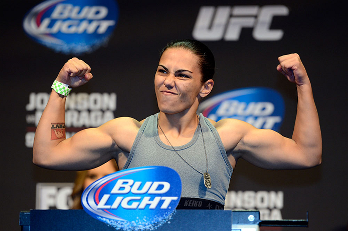 SEATTLE, WA - JULY 26:  Jessica Andrade weighs in during the official UFC on FOX weigh-in at Key Arena on July 26, 2013 in Seattle, Washington.  (Photo by Jeff Bottari/Zuffa LLC/Zuffa LLC via Getty Images)