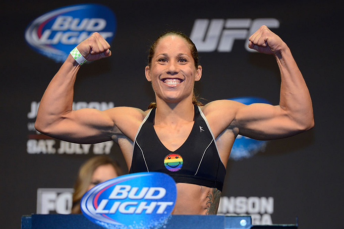 SEATTLE, WA - JULY 26:  Liz Carmouche weighs in during the official UFC on FOX weigh-in at Key Arena on July 26, 2013 in Seattle, Washington.  (Photo by Jeff Bottari/Zuffa LLC/Zuffa LLC via Getty Images)