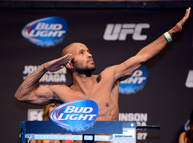 SEATTLE, WA - JULY 26:  Demetrious 'Mighty Mouse' Johnson weighs in during the official UFC on FOX weigh-in at Key Arena on July 26, 2013 in Seattle, Washington.  (Photo by Jeff Bottari/Zuffa LLC/Zuffa LLC via Getty Images)