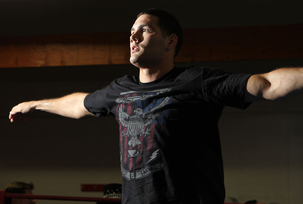 CHICAGO, IL - JANUARY 25:  Chris Weidman works out for the media during the UFC on FOX open workouts at the Chicago Boxing Club on January 25, 2012 in Chicago, Illinois.  (Photo by Josh Hedges/Zuffa LLC/Zuffa LLC via Getty Images)