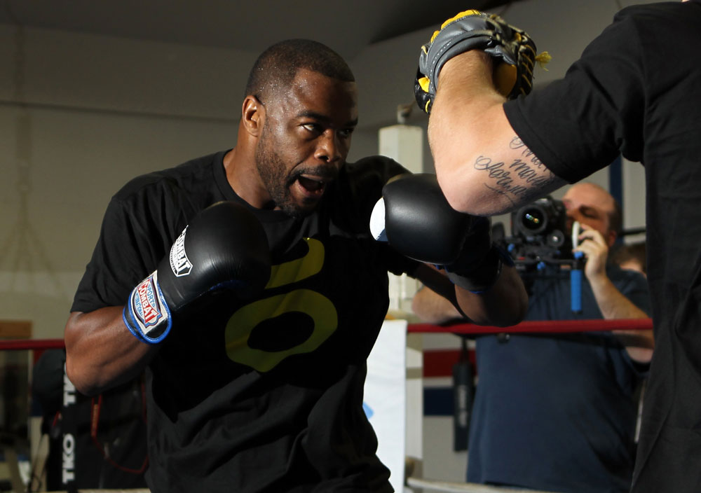 CHICAGO, IL - JANUARY 25:  Rashad Evans works out for the media during the UFC on FOX open workouts at the Chicago Boxing Club on January 25, 2012 in Chicago, Illinois.  (Photo by Josh Hedges/Zuffa LLC/Zuffa LLC via Getty Images)