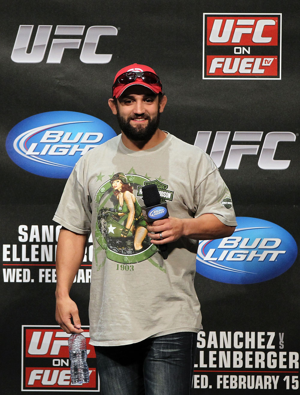 OMAHA, NE - FEBRUARY 14:  UFC fighter Johny Hendricks interacts with fans during a Q&A session before the UFC on FUEL TV weigh in event at Omaha Civic Auditorium on February 14, 2012 in Omaha, Nebraska.  (Photo by Josh Hedges/Zuffa LLC/Zuffa LLC via Getty Images) *** Local Caption *** Johny Hendricks