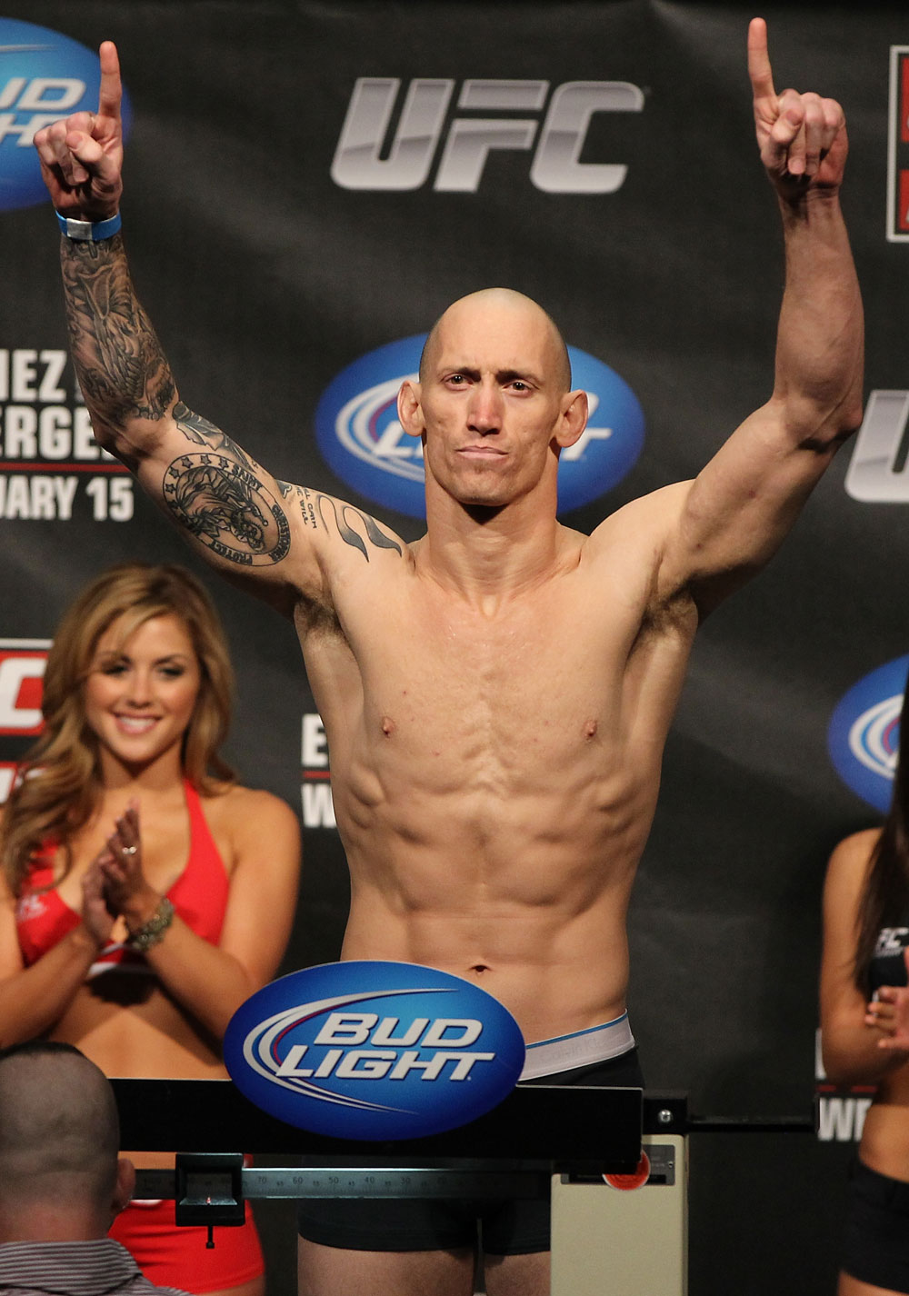 OMAHA, NE - FEBRUARY 14:  Buddy Roberts weighs in during the UFC on FUEL TV weigh in event at Omaha Civic Auditorium on February 14, 2012 in Omaha, Nebraska.  (Photo by Josh Hedges/Zuffa LLC/Zuffa LLC via Getty Images) *** Local Caption *** Buddy Roberts