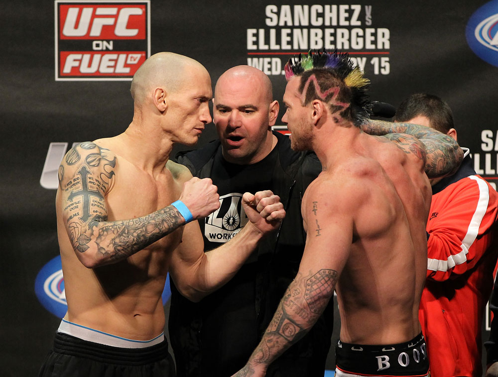 OMAHA, NE - FEBRUARY 14:  (L-R) Opponents Buddy Roberts and Sean Loeffler face off after weighing in during the UFC on FUEL TV weigh in event at Omaha Civic Auditorium on February 14, 2012 in Omaha, Nebraska.  (Photo by Josh Hedges/Zuffa LLC/Zuffa LLC via Getty Images) *** Local Caption *** Buddy Roberts; Sean Loeffler; Dana White