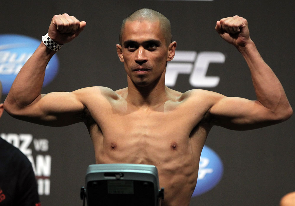 SAN JOSE, CA - JULY 10:   Chris Cariaso makes weight during the UFC on Fuel TV weigh in at HP Pavilion on July 10, 2012 in San Jose, California.  (Photo by Josh Hedges/Zuffa LLC/Zuffa LLC via Getty Images)
