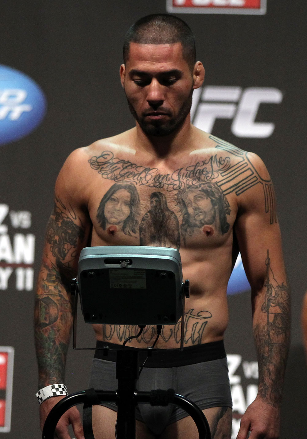 SAN JOSE, CA - JULY 10:   Damacio Page makes weight during the UFC on Fuel TV weigh in at HP Pavilion on July 10, 2012 in San Jose, California.  (Photo by Josh Hedges/Zuffa LLC/Zuffa LLC via Getty Images)