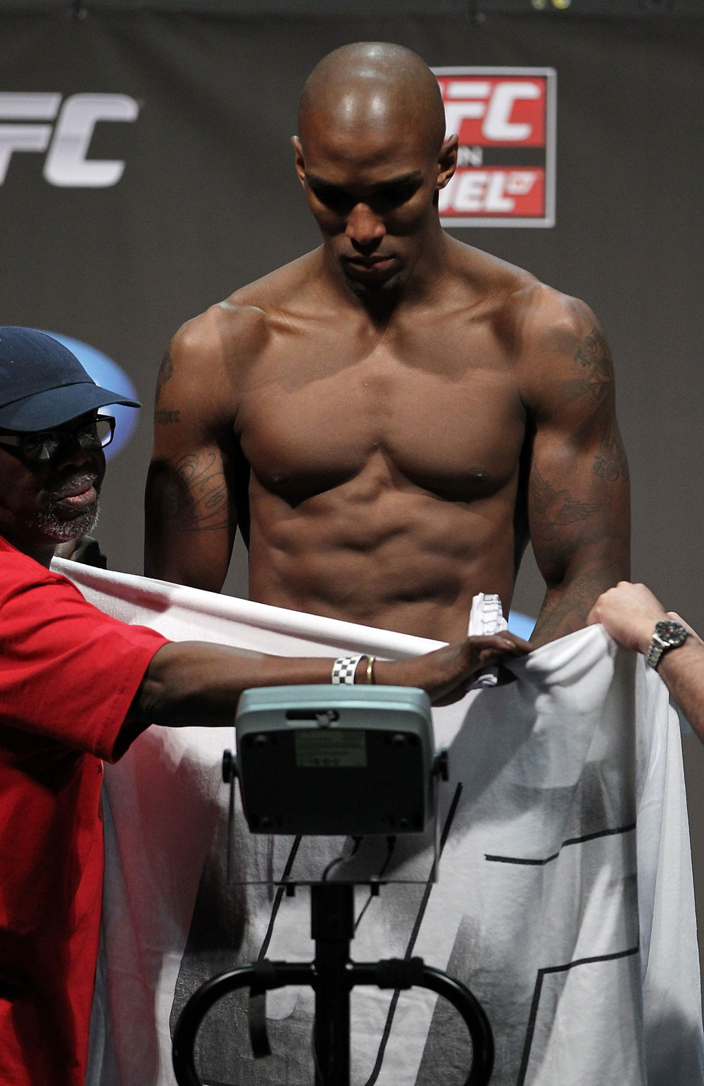 SAN JOSE, CA - JULY 10:   Francis Carmont makes weight during the UFC on Fuel TV weigh in at HP Pavilion on July 10, 2012 in San Jose, California.  (Photo by Josh Hedges/Zuffa LLC/Zuffa LLC via Getty Images)