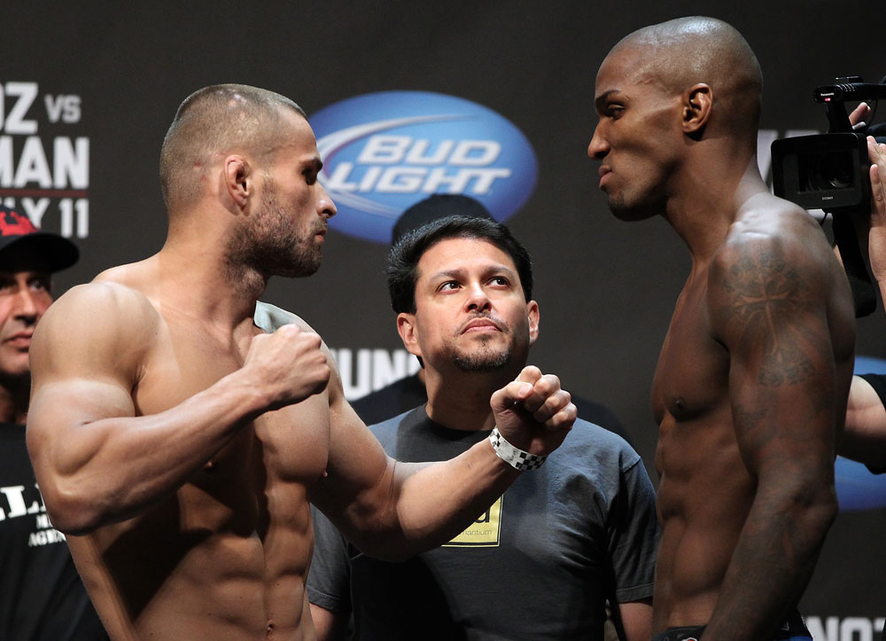 SAN JOSE, CA - JULY 10:   (L-R) Opponents Karlos Vemola and Francis Carmont face off during the UFC on Fuel TV weigh in at HP Pavilion on July 10, 2012 in San Jose, California.  (Photo by Josh Hedges/Zuffa LLC/Zuffa LLC via Getty Images)