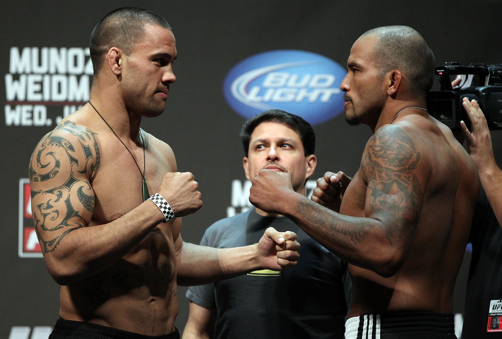 SAN JOSE, CA - JULY 10:   (L-R) Opponents James Te Huna and Joey Beltran face off after making weight during the UFC on Fuel TV weigh in at HP Pavilion on July 10, 2012 in San Jose, California.  (Photo by Josh Hedges/Zuffa LLC/Zuffa LLC via Getty Images)