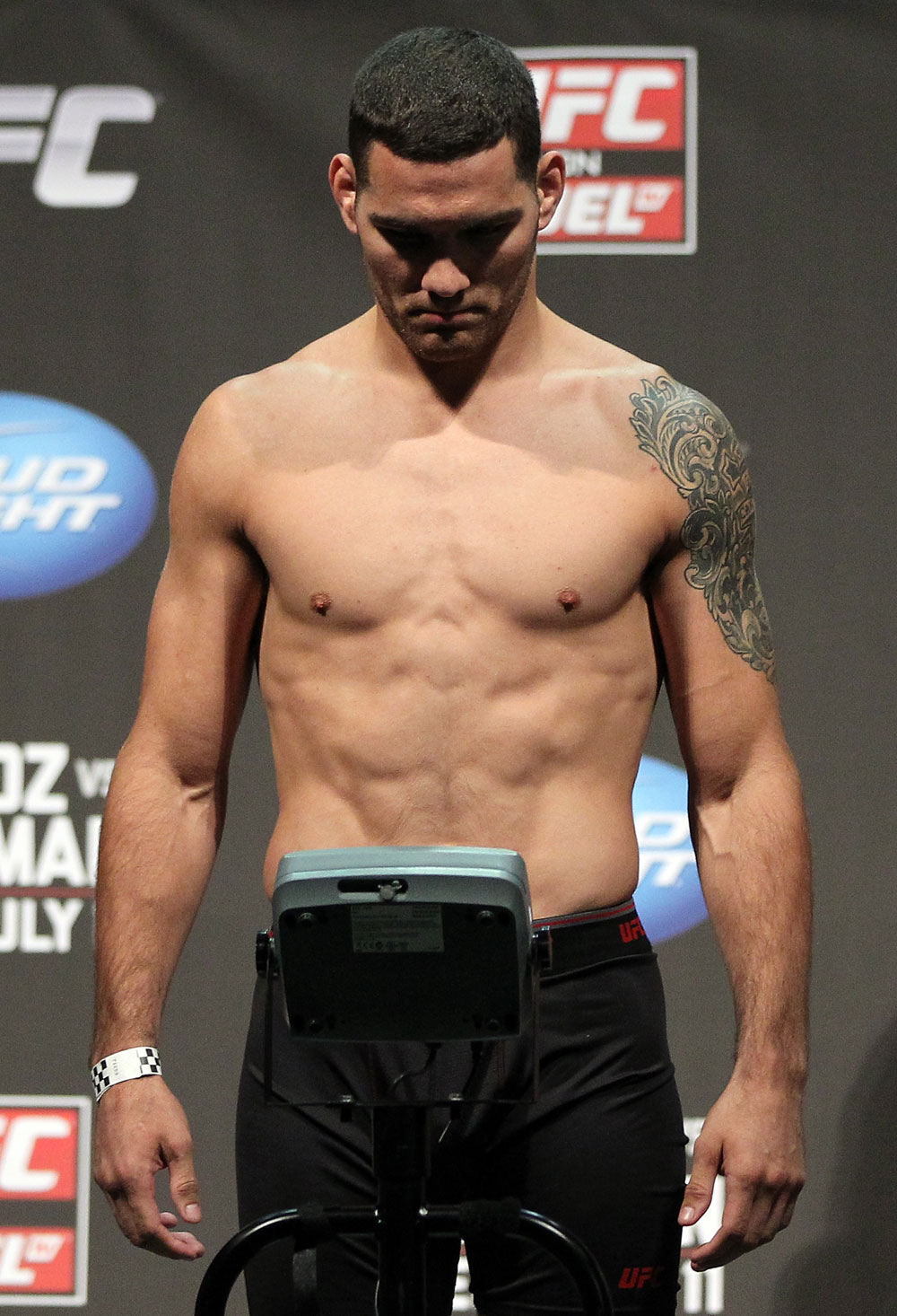 SAN JOSE, CA - JULY 10:   Chris Weidman makes weight during the UFC on Fuel TV weigh in at HP Pavilion on July 10, 2012 in San Jose, California.  (Photo by Josh Hedges/Zuffa LLC/Zuffa LLC via Getty Images)
