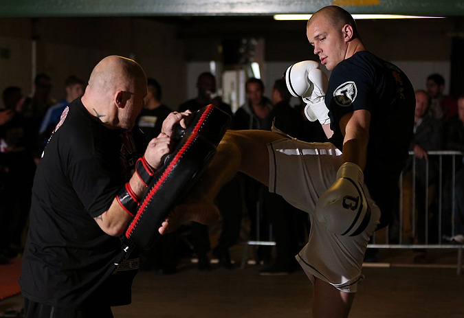 NOTTINGHAM, ENGLAND - SEPTEMBER 26:    Stefan Struve works out for the media during an open workout session at Gym Combat on September 26, 2012 in Nottingham, England.  (Photo by Josh Hedges/Zuffa LLC/Zuffa LLC via Getty Images)