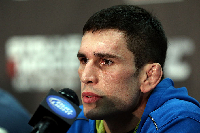 NOTTINGHAM, ENGLAND - SEPTEMBER 27:  Amir Sadollah interacts with media during a UFC press conference at the Hilton Hotel on September 27, 2012 in Nottingham, England.  (Photo by Josh Hedges/Zuffa LLC/Zuffa LLC via Getty Images)
