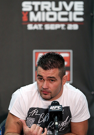 NOTTINGHAM, ENGLAND - SEPTEMBER 27:  John Maguire interacts with media during a UFC press conference at the Hilton Hotel on September 27, 2012 in Nottingham, England.  (Photo by Josh Hedges/Zuffa LLC/Zuffa LLC via Getty Images)