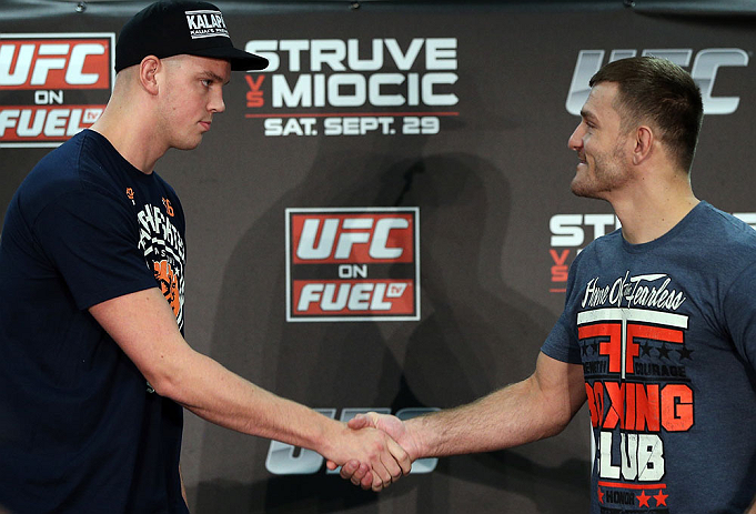 NOTTINGHAM, ENGLAND - SEPTEMBER 27:  (L-R) Opponents Stefan Struve and Stipe Miocic shake hands during a UFC press conference at the Hilton Hotel on September 27, 2012 in Nottingham, England.  (Photo by Josh Hedges/Zuffa LLC/Zuffa LLC via Getty Images)