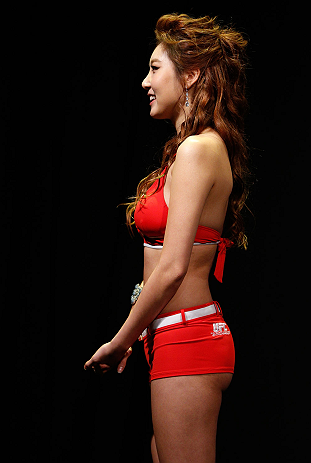 SAITAMA, JAPAN - MARCH 02: UFC Octagon Girl Su-Jung Lee stands on stage during the UFC on FUEL TV weigh-in at Saitama Super Arena on March 2, 2013 in Saitama, Japan. (Photo by Josh Hedges/Zuffa LLC/Zuffa LLC via Getty Images)