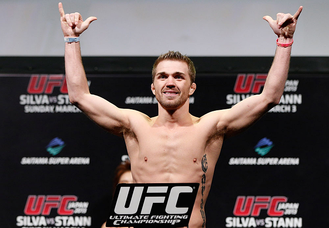 SAITAMA, JAPAN - MARCH 02: Bryan Caraway weighs in during the UFC on FUEL TV weigh-in at Saitama Super Arena on March 2, 2013 in Saitama, Japan. (Photo by Josh Hedges/Zuffa LLC/Zuffa LLC via Getty Images)