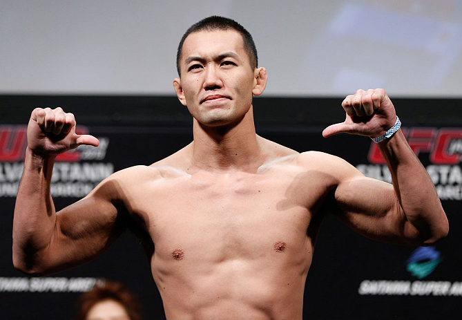 SAITAMA, JAPAN - MARCH 02: Yushin Okami weighs in during the UFC on FUEL TV weigh-in at Saitama Super Arena on March 2, 2013 in Saitama, Japan. (Photo by Josh Hedges/Zuffa LLC/Zuffa LLC via Getty Images)