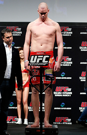 SAITAMA, JAPAN - MARCH 02: Stefan Struve weighs in during the UFC on FUEL TV weigh-in at Saitama Super Arena on March 2, 2013 in Saitama, Japan. (Photo by Josh Hedges/Zuffa LLC/Zuffa LLC via Getty Images)