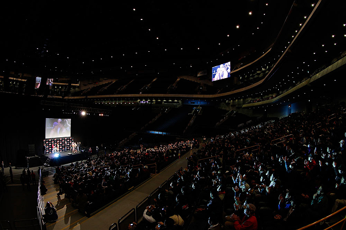 SAITAMA, JAPAN - MARCH 02: A general view of the arena as opponents Wanderlei Silva (L) and Brian Stann (R) face off during the UFC on FUEL TV weigh-in at Saitama Super Arena on March 2, 2013 in Saitama, Japan. (Photo by Josh Hedges/Zuffa LLC/Zuffa LLC via Getty Images)