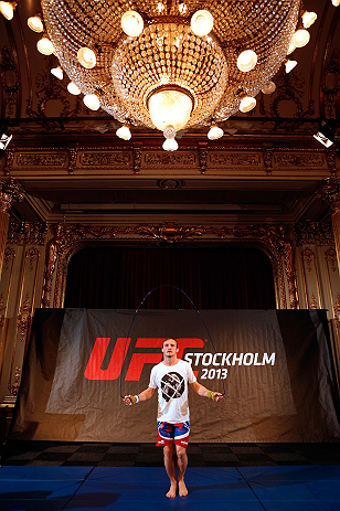 STOCKHOLM, SWEDEN - APRIL 03:  Brad Pickett of England conducts an open training session at the Grand Hotel on April 3, 2013 in Stockholm, Sweden.  (Photo by Josh Hedges/Zuffa LLC/Zuffa LLC via Getty Images)