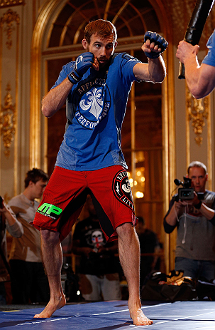 STOCKHOLM, SWEDEN - APRIL 03:  Ryan Couture of USA conducts an open training session at the Grand Hotel on April 3, 2013 in Stockholm, Sweden.  (Photo by Josh Hedges/Zuffa LLC/Zuffa LLC via Getty Images)