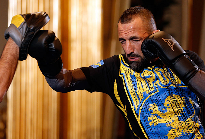STOCKHOLM, SWEDEN - APRIL 03:  Reza Madadi of Sweden conducts an open training session at the Grand Hotel on April 3, 2013 in Stockholm, Sweden.  (Photo by Josh Hedges/Zuffa LLC/Zuffa LLC via Getty Images)