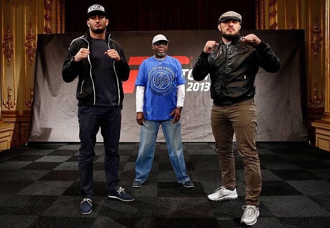 STOCKHOLM, SWEDEN - APRIL 03:  (L-R) Opponents Gegard Mousasi and Ilir Latifi pose for photos during an interview session at the Grand Hotel on April 3, 2013 in Stockholm, Sweden.  (Photo by Josh Hedges/Zuffa LLC/Zuffa LLC via Getty Images)