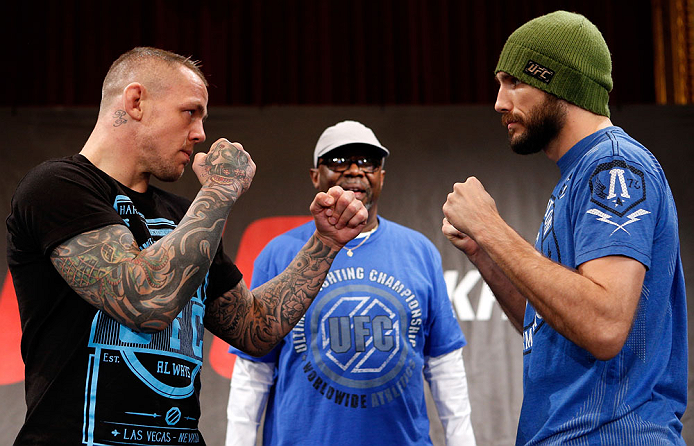 STOCKHOLM, SWEDEN - APRIL 03:  (L-R) Opponents Ross Pearson and Ryan Couture face off during an interview session at the Grand Hotel on April 3, 2013 in Stockholm, Sweden.  (Photo by Josh Hedges/Zuffa LLC/Zuffa LLC via Getty Images)