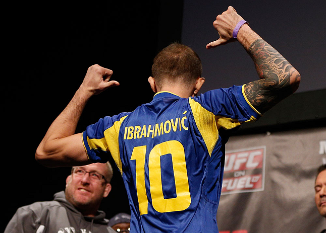 STOCKHOLM, SWEDEN - APRIL 05:  Benny Alloway wears a Zlatan Ibrahimović Swedish football jersey during the UFC weigh-in at the Ericsson Globe Arena on April 5, 2013 in Stockholm, Sweden.  (Photo by Josh Hedges/Zuffa LLC/Zuffa LLC via Getty Images)