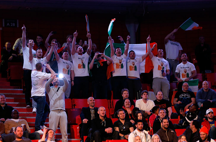 STOCKHOLM, SWEDEN - APRIL 05:  Irish fans chant in support of Conor McGregor during the UFC weigh-in at the Ericsson Globe Arena on April 5, 2013 in Stockholm, Sweden.  (Photo by Josh Hedges/Zuffa LLC/Zuffa LLC via Getty Images)