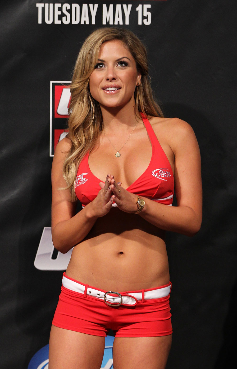 FAIRFAX, VA - MAY 14:  UFC Octagon Girl Brittany Palmer attends the UFC on Fuel TV official weigh in at Patriot Center on May 14, 2012 in Fairfax, Virginia.  (Photo by Josh Hedges/Zuffa LLC/Zuffa LLC via Getty Images)