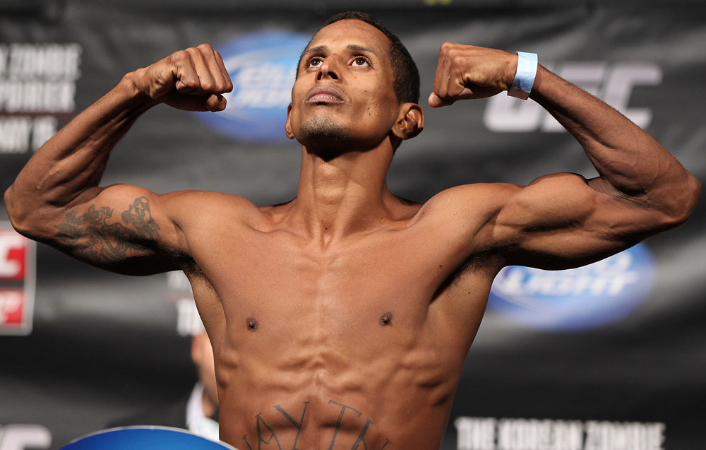FAIRFAX, VA - MAY 14:  Johnny Eduardo makes weight during the UFC on Fuel TV official weigh in at Patriot Center on May 14, 2012 in Fairfax, Virginia.  (Photo by Josh Hedges/Zuffa LLC/Zuffa LLC via Getty Images)