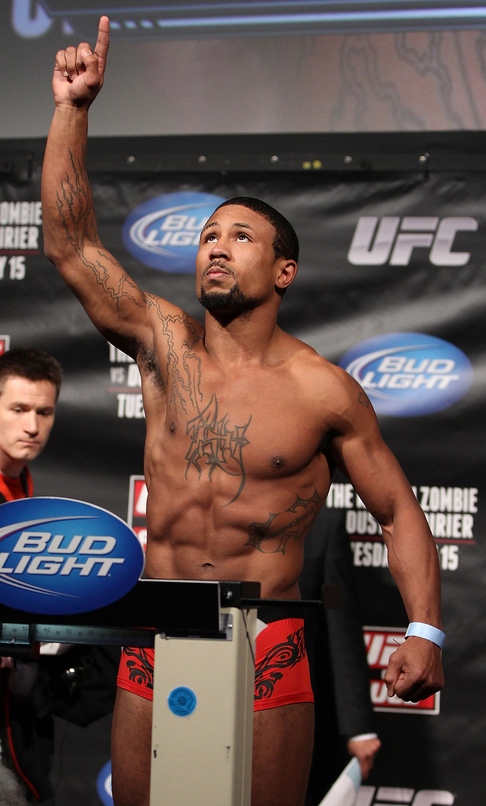FAIRFAX, VA - MAY 14:  Marcus LeVesseure makes weight during the UFC on Fuel TV official weigh in at Patriot Center on May 14, 2012 in Fairfax, Virginia.  (Photo by Josh Hedges/Zuffa LLC/Zuffa LLC via Getty Images)