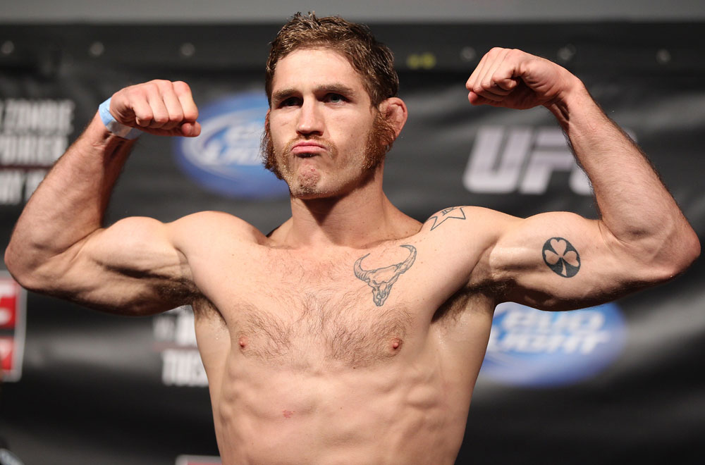 FAIRFAX, VA - MAY 14:  Tom Lawlor makes weight during the UFC on Fuel TV official weigh in at Patriot Center on May 14, 2012 in Fairfax, Virginia.  (Photo by Josh Hedges/Zuffa LLC/Zuffa LLC via Getty Images)
