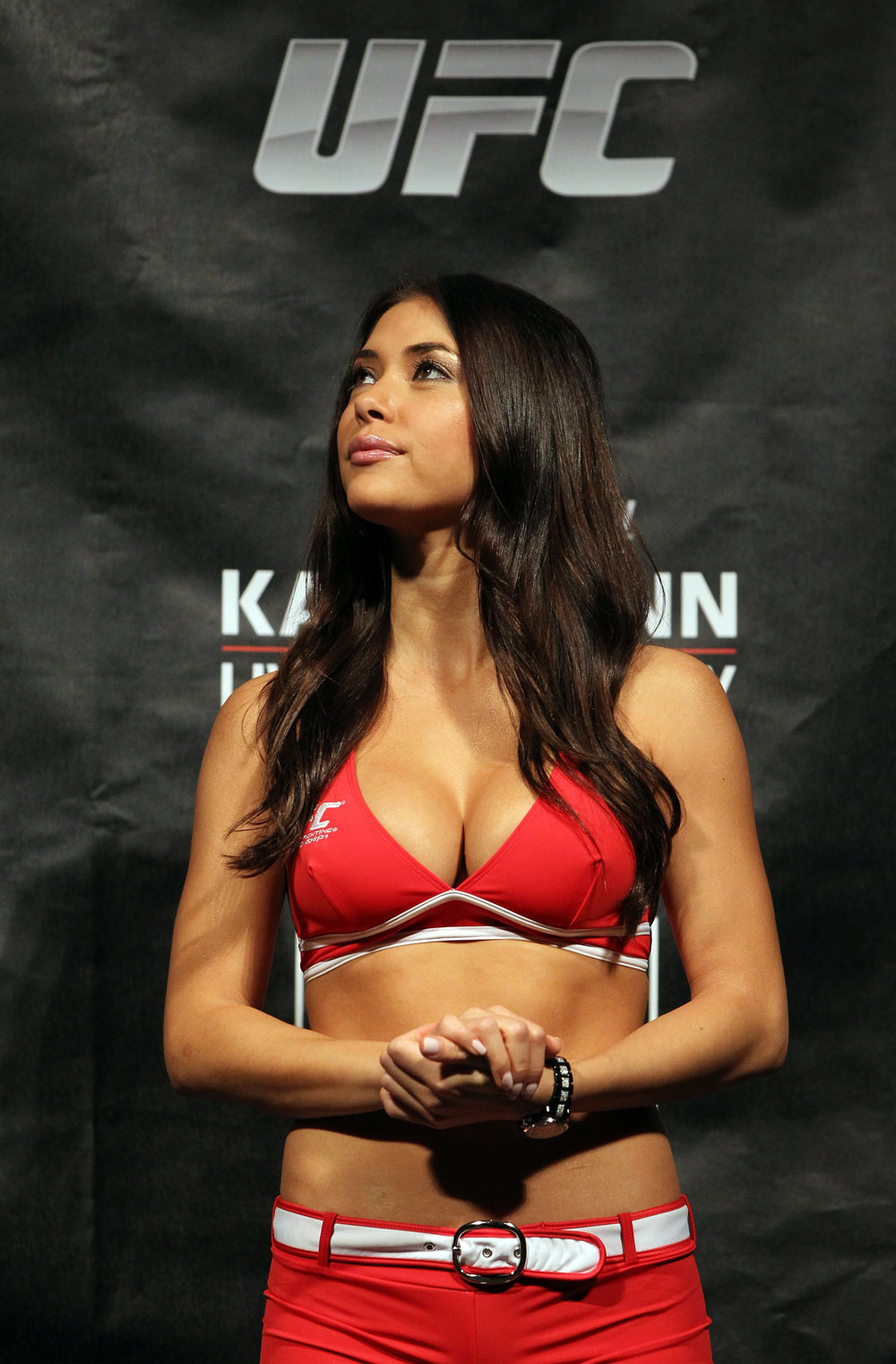 SYDNEY, AUSTRALIA - MARCH 02:  UFC Octagon Arianny Celeste attends the UFC on FX official weigh in at Allphones Arena on March 2, 2012 in Sydney, Australia.  (Photo by Josh Hedges/Zuffa LLC/Zuffa LLC via Getty Images) *** Local Caption *** Arianny Celeste