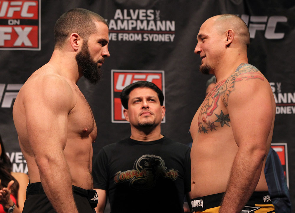 SYDNEY, AUSTRALIA - MARCH 02:  (L-R) Heavyweight opponents Oli Thompson and Shawn Jordan face off after weighing in during the UFC on FX official weigh in at Allphones Arena on March 2, 2012 in Sydney, Australia.  (Photo by Josh Hedges/Zuffa LLC/Zuffa LLC via Getty Images) *** Local Caption *** Oli Thompson; Shawn Jordan