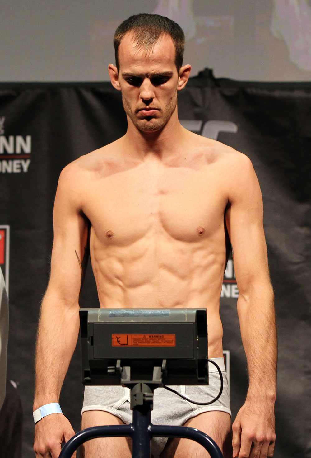 SYDNEY, AUSTRALIA - MARCH 02:  Cole Miller weighs in during the UFC on FX official weigh in at Allphones Arena on March 2, 2012 in Sydney, Australia.  (Photo by Josh Hedges/Zuffa LLC/Zuffa LLC via Getty Images) *** Local Caption *** Cole Miller