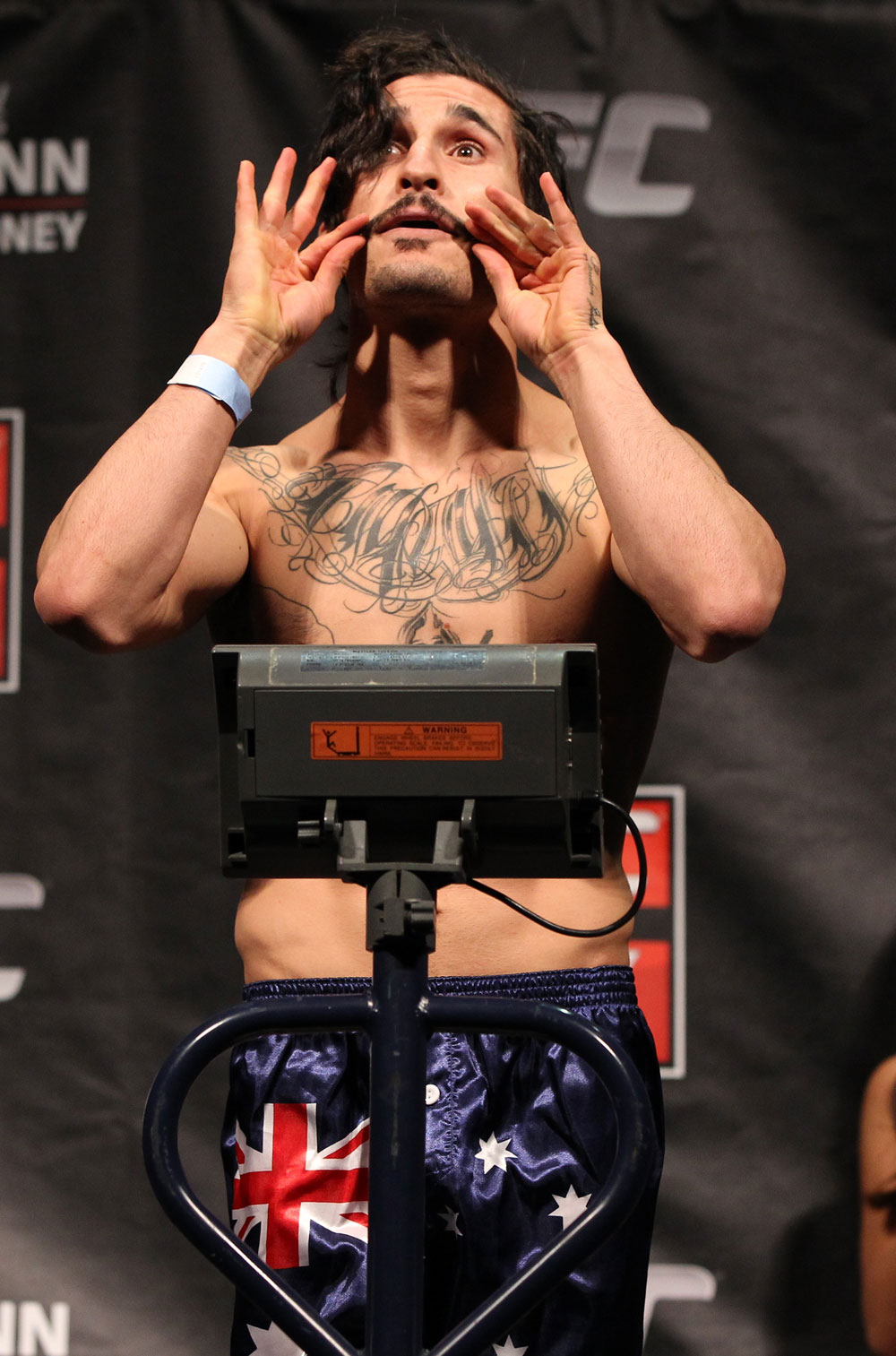 SYDNEY, AUSTRALIA - MARCH 02:  Ian McCall weighs in during the UFC on FX official weigh in at Allphones Arena on March 2, 2012 in Sydney, Australia.  (Photo by Josh Hedges/Zuffa LLC/Zuffa LLC via Getty Images) *** Local Caption *** Ian McCall