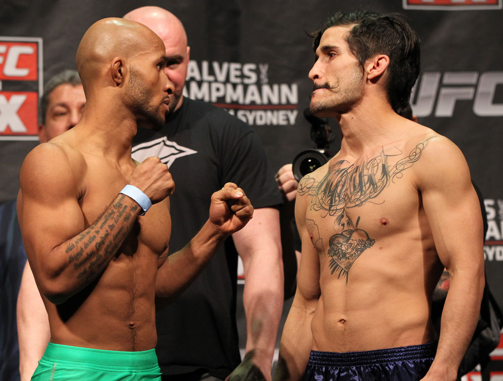 SYDNEY, AUSTRALIA - MARCH 02:  (L-R) Flyweight opponents Demetrious Johnson and Ian McCall face off ater weighing in during the UFC on FX official weigh in at Allphones Arena on March 2, 2012 in Sydney, Australia.  (Photo by Josh Hedges/Zuffa LLC/Zuffa LLC via Getty Images) *** Local Caption *** Demetrious Johnson; Ian McCall