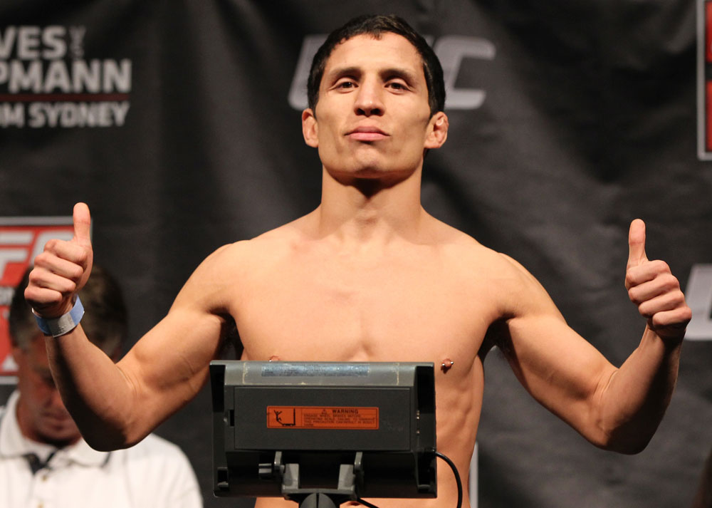 SYDNEY, AUSTRALIA - MARCH 02:  Joseph Benavidez weighs in during the UFC on FX official weigh in at Allphones Arena on March 2, 2012 in Sydney, Australia.  (Photo by Josh Hedges/Zuffa LLC/Zuffa LLC via Getty Images) *** Local Caption *** Joseph Benavidez