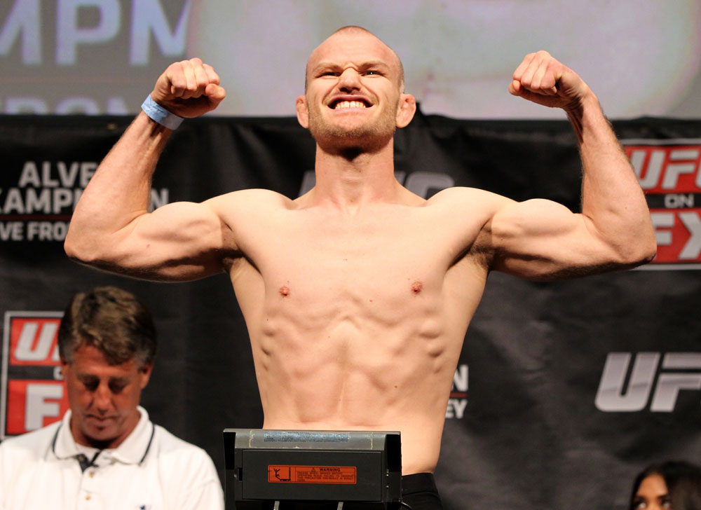 SYDNEY, AUSTRALIA - MARCH 02:  Martin Kampmann weighs in during the UFC on FX official weigh in at Allphones Arena on March 2, 2012 in Sydney, Australia.  (Photo by Josh Hedges/Zuffa LLC/Zuffa LLC via Getty Images) *** Local Caption *** Martin Kampmann
