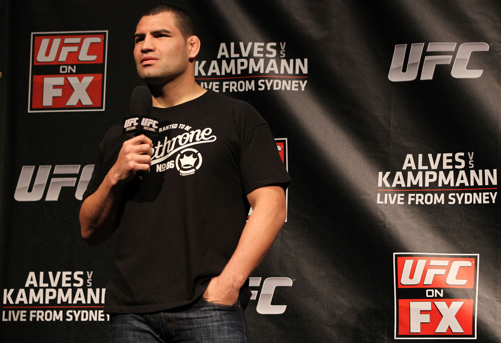 SYDNEY, AUSTRALIA - MARCH 02:  Former UFC Heavyweight Champion Cain Velasquez interacts with fans during a Q&A session before the UFC on FX official weigh in at Allphones Arena on March 2, 2012 in Sydney, Australia.  (Photo by Josh Hedges/Zuffa LLC/Zuffa LLC via Getty Images) *** Local Caption *** Cain Velasquez