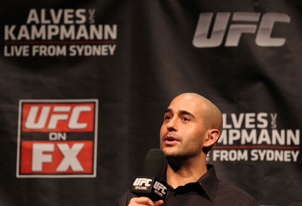 SYDNEY, AUSTRALIA - MARCH 02:  UFC host Jon Anik interacts with fans during a Q&A session before the UFC on FX official weigh in at Allphones Arena on March 2, 2012 in Sydney, Australia.  (Photo by Josh Hedges/Zuffa LLC/Zuffa LLC via Getty Images) *** Local Caption *** Jon Anik