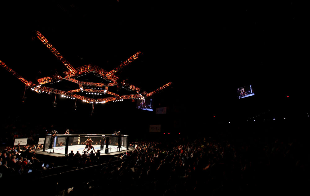 ATLANTIC CITY, NJ - JUNE 22:  A general view is seen as Hatsu Hioki battles Ricardo Lamas in their featherweight bout during UFC on FX 4 at Revel Casino on June 22, 2012 in Atlantic City, New Jersey.  (Photo by Nick Laham/Zuffa LLC/Zuffa LLC)