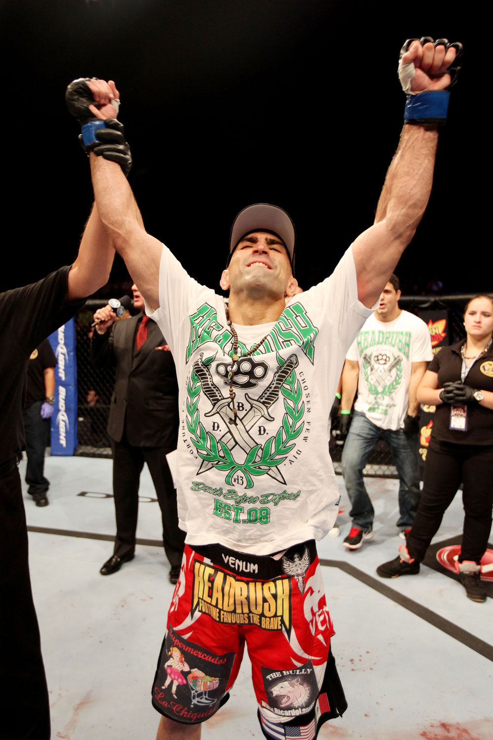 ATLANTIC CITY, NJ - JUNE 22: Ricardo Lamas celebrates his win by unanimous decision over Hatsu Hioki (not pictured) in a featherweight bout during UFC on FX 4 at Revel Casino on June 22, 2012 in Atlantic City, New Jersey.  (Photo by Nick Laham/Zuffa LLC/Zuffa LLC)